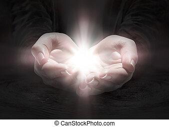 ruce, prosit, -, lehký, krucifix