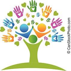 ruce, strom, emblém, herce, znak