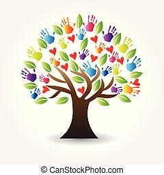 ruce, strom, vektor, herce, emblém, ikona