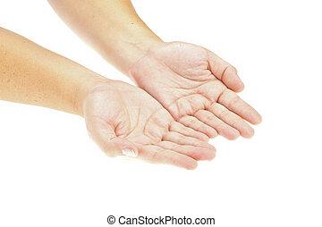 Ruka, ruce na ruce, ruce drží objekt. Nasaď si svůj výrobek. Izolovaný obraz