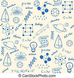 rukopis, nahý, věda, seamless, ikona