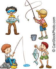 rybaření, muži, skica