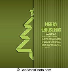 sámek, strom, přivinout, noviny, nezkušený, šablona, vánoce karta