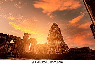 sad, pohybovat se, phimai, ohnisko, destinations., klasický, starobylý, khmer, nakhon, ancient., historical site, dějinný, thailand., stavení., západ slunce, architektura, mezník, sky., chrám, ratchasima, výběrový