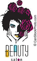 salon, manželka, kráska, -, vektor, emblém