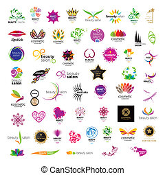 salons, logos, kráska, vybírání, vektor, kosmetické zboží