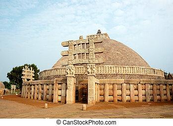 sanchi, starobylý, indie, důležitý, stupa
