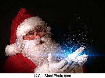 Santa drží magické světla v rukách
