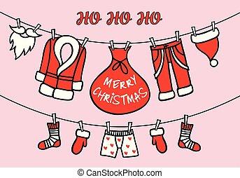 santa, karafiát, karta, claus, vektor, šňůra na prádlo, vánoce