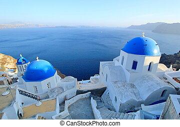 santorini, konzervativní, přivést do kostela, palác, řecko, pravověrný