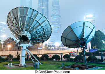 satelit, shanghai's, večer, mrakodrapy, antenna.