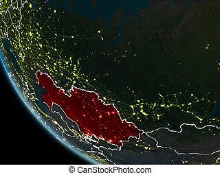 satellite ohledat, kazakhstan, večer
