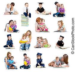 Sběr dětí nebo dětí, které čte knihu. Výchova z dětství.