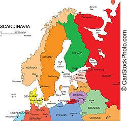 scandanavia, editable, země, jména