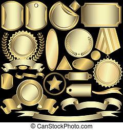 Se zlatým a stříbrným štítkem.