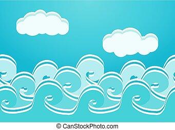 seamless, ilustrace, vektor, model, moře, vlání