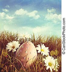 sedmikráska, velikonoční tráva, vejce, big