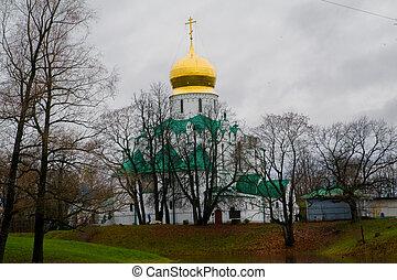 selo., tsarskoe, rusko, církev, autumn., pravověrný, zlatý, město, pushkin, dome.