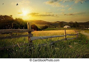 selský, krajina., pastvina, umění, bojiště