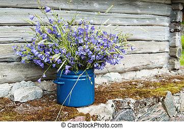 selský, květiny, kytice, krajina, bojiště, amidst
