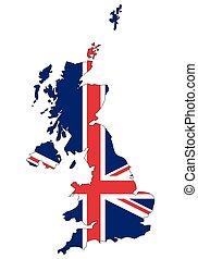 severní, důležitý, království, -, celostátní mapovat, nárys, state flag, británie, irsko, sjednocený
