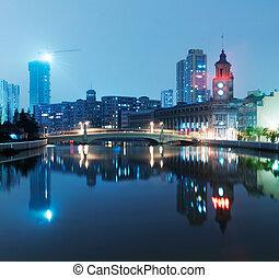 shanghai, městská silueta, čína, večer, překrásný