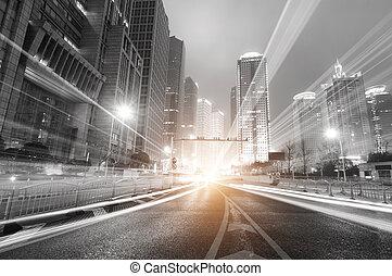 shanghai, večer, finance, moderní, grafické pozadí, oblast, město, obchod, lujiazui, i kdy