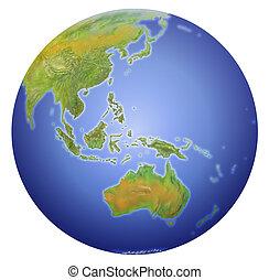 showing, asie, zéland, míra, hlína, austrálie, čerstvý, jih