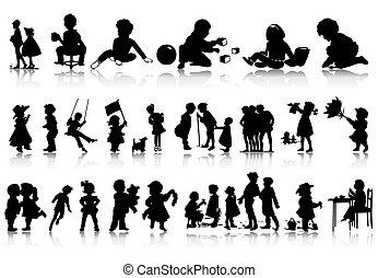 Silhouette dětí v různých situacích. Vektorová ilustrace