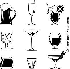 Silhouette nápoje na bílém