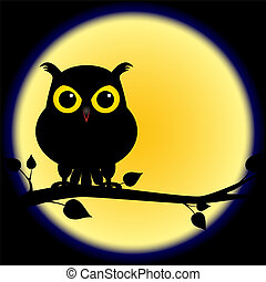 Silhouette owl na větvi