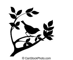 Silhouette ptáček na stromě