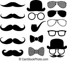 silhouettes, čerň, moustaches