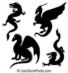 silhouettes, dát, drak