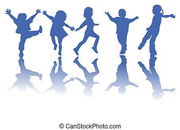 silhouettes, děti, šťastný