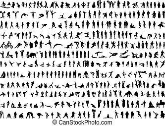 silhouettes, lidský, hundreds