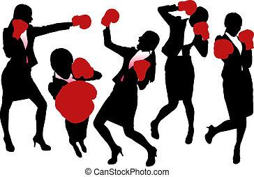 silhouettes, manželka, box, povolání