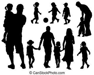 silhouettes, rodina