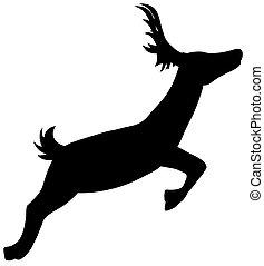 silueta, běh, jelen