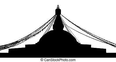 silueta, boudhanath, stupa
