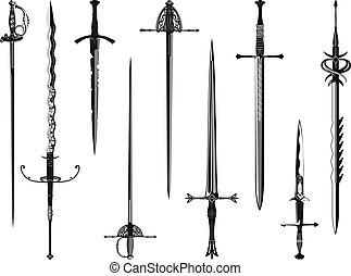 silueta, meči, vybírání