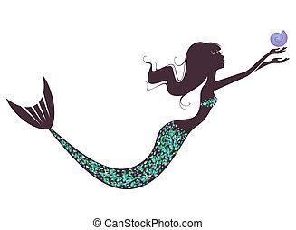 silueta, mořská panna