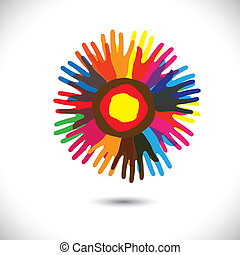 sjednocený, národ, všeobecný, obec, flower:, stálý, ikona, concept., bratrstvo, šťastný, barvitý, zpodobnit, ilustrace, rukopis, okvětní lístek, jednota, porce, grafický, tato, etc, vektor, mužstvo