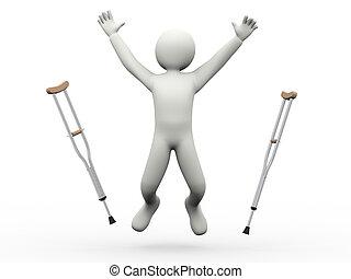 skákání, crutches, 3, voják, kroužení hrnců, šťastný