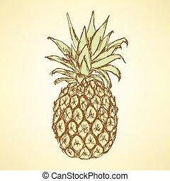 Sketch chutnej ananas ve stylu