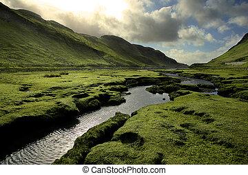 skotsko, pramen, údolí, nezkušený