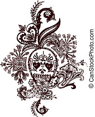 Skull paisley tetování