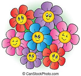Skupina kreslených květin