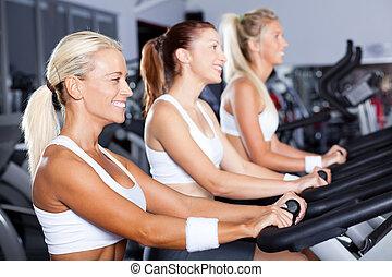 Skupina mladých žen cykluje v tělocvičně