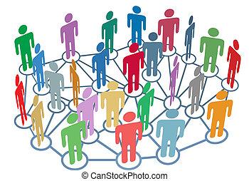 skupina, síť, národ, střední jakost, společenský, mnoho, hovor